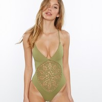Frankies Bikinis - Camo Green Poppy | Crochet One Piece Swimsuit