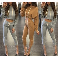 Fashion autumn and winter sexy long-sleeved sweater two-piece [4207512551521]