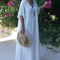 Ivory  Long Beach Dress, Maxi Swim suit Coverup, Ivory Lace Caftan, Lace cover up, Gift for women