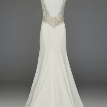 Satin Gown with Beaded Waist and Illusion Back - David's Bridal - mobile