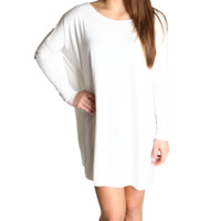 Off White Piko Tunic Long Sleeve Dress