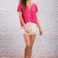 Dreaming In Botanicals Shorts, Ivory