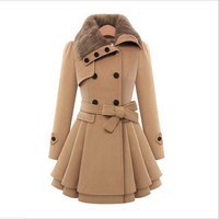 Winter Coat Women Fashion Double Breasted Thicken Slim Long Style Wool Blends Coats With Belt
