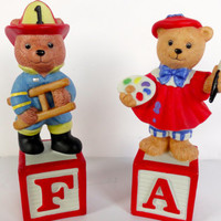 Teddy Bear Figurine Alpha Block Bear Fireman Artist