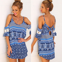 Printed Off Shoulder Loose Dress