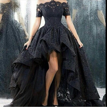 trouwjurk real photo wedding dress short front long back strapless a-line floor length black lace wedding dress