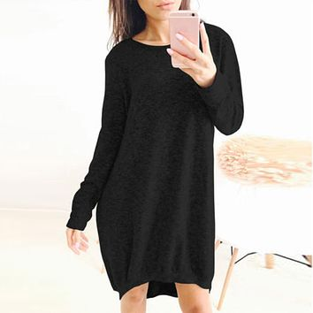 Autumn Women Clothing Fashion Ladies Baggy Knitt Dress Loose Sleeve Casual Short Mini Dress Long Retro Black  Dresses
