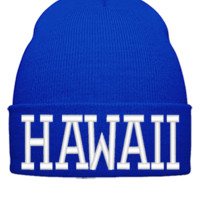 HAWAII EMBROIDERY HAT - Beanie Cuffed Knit Cap