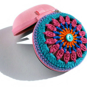 Crochet Mandala Coin Purse - Crochet Bag In Orange, Blue, Pink, Teal And Lilac, Teal Button, Baby Pink Base