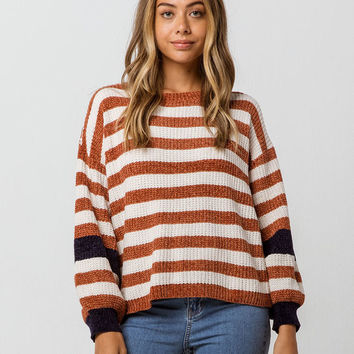 WOVEN HEART Stripe Chenille Balloon Womens Sweater