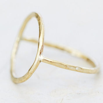 Gold Simple Circle Ring - ONE Hand Forged Slightly Hamemred Gold Open Circle Ring - Boho - Chic - Simple Jewelry