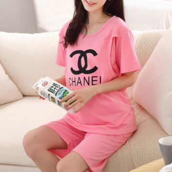 Chanel Casual Short Sleeve Shorts Print Pajamas