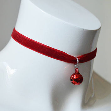 Kitten play day choker - velvet ribbon - red with bell - kittenplay ddlg cute necklace for everyday wearing