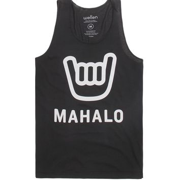 Wellen Mahalo Tank Top - Mens Tee - Black - Small