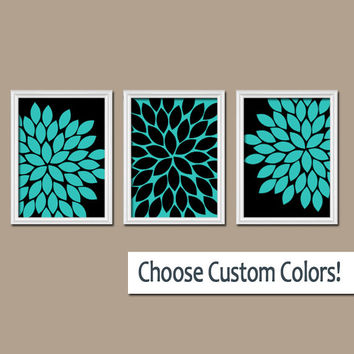 Turquoise Black Wall Art Canvas Bedroom Artwork Girl Flower Burst Dahlia Bloom Set of 3 Trio Prints Bathroom Decor Three