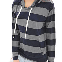 FOREVER 21 Striped Knit Top Navy/Grey