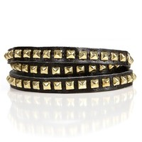 Black/Gold Studded Wrap Bracelet