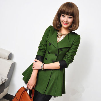 Women Grass green Princess Wool Cashmere coat double breasted button winter coat Hood cloak Hoodie cape Hooded Cape/cloth /jacket