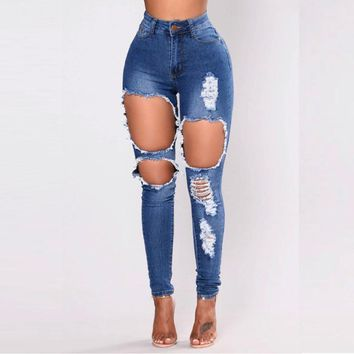 2018 Long Jeans Women High Waist Skinny Pencil Blue Denim Pants ripped hole Jeans women bleached washed jeans summer fashion