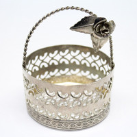 Mini Vintage Metal Mesh Basket with Crafted Flower on Wire Handle