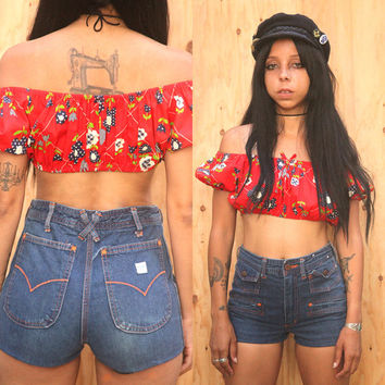 Vintage 70s High waist Denim hot pants Shorts sz 25 26