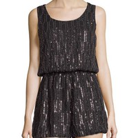 Romeo & Juliet Couture Sleeveless Embellished Short Jumpsuit, Black