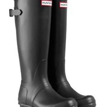 HUNTER ORIGINAL TALL BACK BLACK ADJUSTABLE WELLINGTON BOOTS WIDE CALVES Welly BN