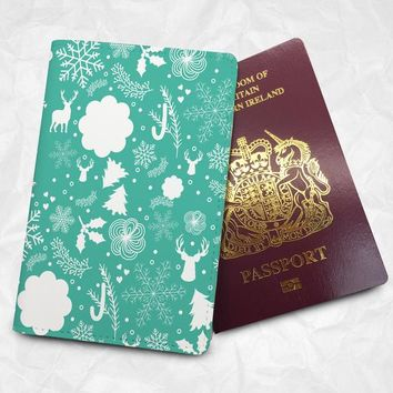 Personalized passport holder, FREE Monogram name printing, Custom pu leather passport cover, Christmas design (BBS060)