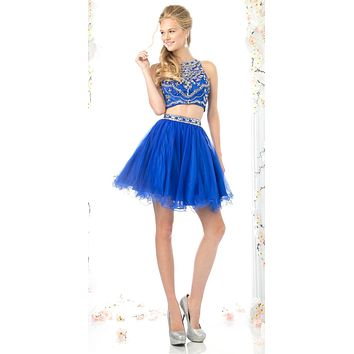 Cinderella Divine 975 Two Piece Illusion Beaded Crop Top Royal Blue Tulle Homecoming Dress