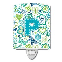 Letter P Flowers and Butterflies Teal Blue Ceramic Night Light CJ2006-PCNL