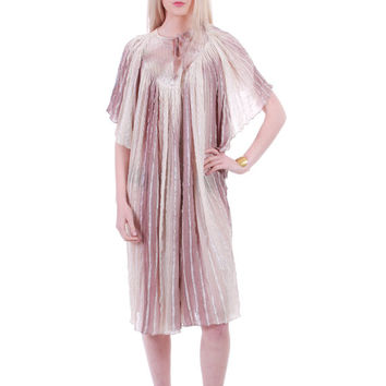 70s Vintage Gauze Tunic Dress Mauve Goddess Draped Angel Sleeve Hippie Boho Festival Clothing Made In Greece Womens One Size Fits All