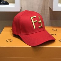 FENDI Fashion Women Men Golden Double F Embroidery Sports Sun Hat Baseball Cap Hat Red I-OM-NBPF