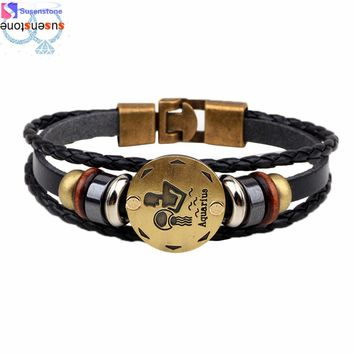 Twelve constellations Bracelet Fashion Jewelry Leather Wristband