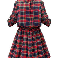 Casual Women Stand Collar Button Plaid Elastic Waist Pleated Dress - Newchic Fashion Dress Mobile.