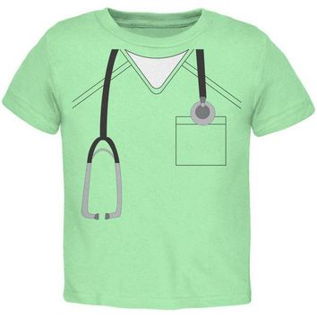 ICIK8UT Halloween Doctor Scrubs Costume Mint Green Toddler T-Shirt