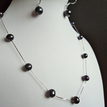 Midnight Blue Freshwater Pearl Necklace and by Lunarpearl on Etsy