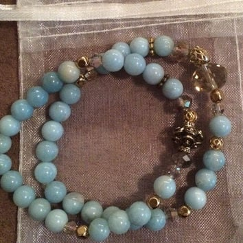 Aquamarine Natural Gemstone Beaded Bracelets with Gold & Crystal Accents Set of 2