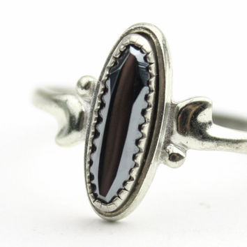 Sterling Silver Hematite Ring - WM Co Ring Size 7.5
