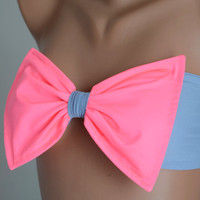 PADDED ...THINER BACK..Neon pink and gray bow bandeau swimsuit bandeau bikini top with pads bow bikini top women's fashion