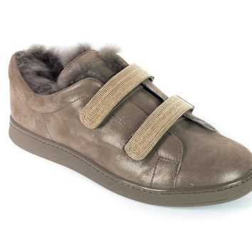 Brunello Cucinelli Women's Brown Leather Monili Fur Trimmed Sneakers