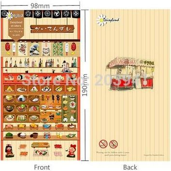 1pack/ lot   190*98mm Vintage Japan style Sushi Series paper sticker DIY Multifunction children stickers  lable NO.1072