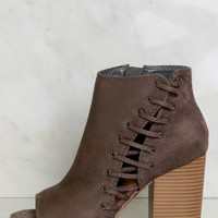 Peep Toe Lace Up Booties Charcoal