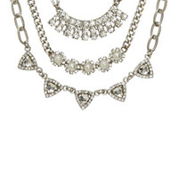 Crystal/Pearl 3pk Statement Necklaces - Silver