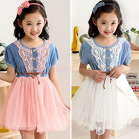 Lovely Baby Kids Girls Toddler Princess Ruffled Denim Jeans One-piece Tulle Lace Dress Children's Clothing SV002420|40901 = 1958453764