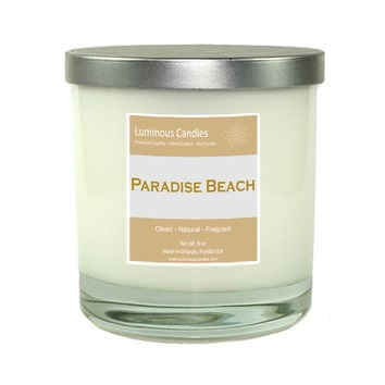 Soy Candle - Paradise Beach Scented - 8 oz Rock Glass Jar Candle with Brushed Metal Lid