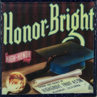 Honor Bright - Vintage Citrus Crate Label - Handmade Recycled Tile Coaster