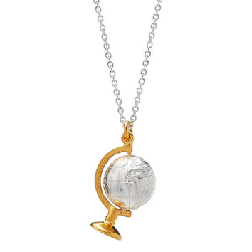 Silver Spinning Globe Necklace | gold globe
