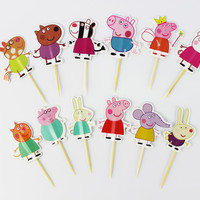Peppa Pig Cupcake Toppers Picks for Easter Cake Favor