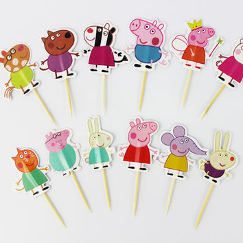 24pcs cupcake topper picks kids party cake decoration
