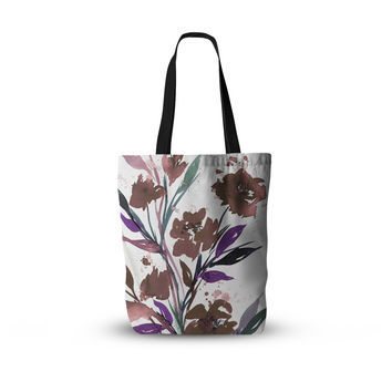 "Ebi Emporium ""Pocket Full Of Posies Brown"" Beige White Everything Tote Bag"